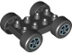 Part No: 88760c01pb05  Name: Duplo Car Base 2 x 4 with Black Tires and Silver Spinner Wheels Pattern (88760 / 88762c01pb05)