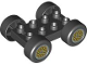 Part No: 88760c01pb08  Name: Duplo Car Base 2 x 4 with Black Tires and Yellow 'Y' Spoke Wheels Pattern (88760 / 88762c01pb08)
