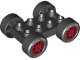 Part No: 88760c01pb10  Name: Duplo, Vehicle Car Base 2 x 4 with Black Tires and Red Spokes, 'ROTELLI TIRES' and 'PASTA POTENZA' Wheels Pattern (88760 / 88762c01pb10)