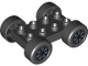 Part No: 88760c01pb12  Name: Duplo, Vehicle Car Base 2 x 4 with Black Tires and 7 Black Spokes and Silver Hubcap Wheels Pattern (88760 / 88762c01pb12)