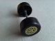 Part No: 88762c01pb08  Name: Duplo Wheel Double Assembly with Metal Axle and Yellow 'Y' Spoke Pattern