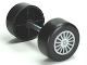 Part No: 88762c01pb14  Name: Duplo Wheel Double Assembly with Metal Axle and Silver Spokes Pattern