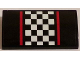 Part No: 88930pb052  Name: Slope, Curved 2 x 4 x 2/3 with Bottom Tubes with Red Stripes and Black and White Checkered Pattern (Sticker) - Set 60084