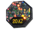 Part No: 890pb01  Name: Road Sign Clip-on 2 x 2 Octagon with '20-X2' and Glitter Pattern (Sticker) - Set 6463