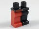 Part No: 970d03pb05  Name: Minifigure, Legs with Hips - 1 Black Left Leg, 1 Red Right Leg with Red Right Side Belt Pattern