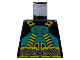 Part No: 973pb0021  Name: Torso Aquazone Aquaraider Dark Turquoise and Yellow Crossed Belts Pattern