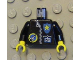 Part No: 973pb0027c01  Name: Torso Space Port Logo, Zipper, ID and Police Star Pattern / Black Arms / Yellow Hands