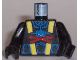 Part No: 973pb0075c01  Name: Torso Aquazone Aquashark Blue Shark with Red 'X' Pattern / Black Arms / Black Hands