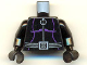 Part No: 973pb0186c01  Name: Torso Batman Purple Female Outline, Ring Zipper Pull, Gray 3-Cord Belt Pattern / Black Arms / Black Hands
