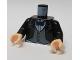 Part No: 973pb0225c01  Name: Torso Batman Suit Jacket with Gray Vest, Dark Blue Bow Tie Pattern / Black Arms / Light Nougat Hands