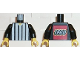 Part No: 973pb0243c01  Name: Torso Soccer Referee Vertical White Stripes and LEGO Logo Back Pattern / Black Arms / Yellow Hands