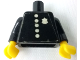 Part No: 973pb0248c01  Name: Torso Police Old with Badge and 5 Buttons Pattern (Sticker) / Black Arms / Yellow Hands
