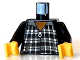 Part No: 973pb0258c01  Name: Torso Harry Potter Ron Plaid Shirt with Zipper Pattern / Black Arms / Yellow Hands