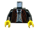 Part No: 973pb0267c01  Name: Torso Harry Potter Dark Red Stripe Suit Front, Gray Vest and Tie, Gold Fob Pattern / Black Arms / Yellow Hands