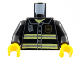 Part No: 973pb0300c01  Name: Torso Fire Uniform Badge and Stripes Pattern with Radio / Black Arms / Yellow Hands
