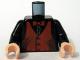 Part No: 973pb0480c01  Name: Torso Speed Racer Dark Orange Vest and Bow Tie Pattern / Black Arms / Light Nougat Hands