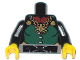 Part No: 973pb0512c01  Name: Torso Castle Fantasy Era Dark Green Front Panel and Gold Spider Necklace Pattern / Black Arms / Yellow Hands