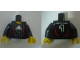 Part No: 973pb0552c01  Name: Torso Soccer Adidas Logo, White and Red No. 1 Pattern (Stickers) / Black Arms / Yellow Hands