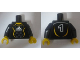 Part No: 973pb0553c01  Name: Torso Soccer Adidas Logo, White and Yellow No. 1 Pattern (Stickers) / Black Arms / Yellow Hands