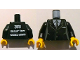 Part No: 973pb1080c01  Name: Torso Suit with 2 Buttons, Gray Sides, Gray Centerline and Tie Front, 2011 The LEGO Store Toronto, Canada Back Pattern / Yellow Hands