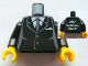 Part No: 973pb1120c01  Name: Torso Suit with 2 Buttons, Gray Sides, Gray Centerline and Tie Front, 2012 The LEGO Store Victor, NY Back Pattern / Black Arms / Yellow Hands