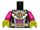 Part No: 973pb1238c01  Name: Torso Alien Female Shoulder Armor and Belt with UFO Pattern / Magenta Arms / Lime Hands