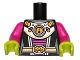 Part No: 973pb1238c01  Name: Torso Alien Female Shoulder Armor and Belt with UFO Pattern / Magenta Arms / Lime Hands