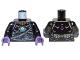 Part No: 973pb1347c01  Name: Torso Chima with Dark Bluish Gray Belts, Medium Lavender Highlights and Dark Azure Round Jewel (Chi) Pattern / Black Arms / Dark Purple Hands