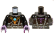 Part No: 973pb1357c01  Name: Torso Armor with Dark Bluish Gray Belts, Gold Raven Pendant and Dark Azure Round Jewel (Chi) Pattern / Black Arms / Dark Purple Hands