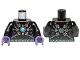 Part No: 973pb1362c01  Name: Torso Armor with Dark Bluish Gray Belts, Dots, Star and Blue Round Jewel (Chi) Pattern / Black Arms / Dark Purple Hands