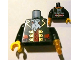 Part No: 973pb1377c01  Name: Torso Pirate Captain with White Ascot Front, 2012 The LEGO Store Alpharetta, GA Back Pattern / Black Arms / Yellow Hand Right / Pearl Gold Hook Left