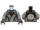 Part No: 973pb1386c01  Name: Torso Ninjago Robe with Gray and Silver Sash Pattern / Dark Bluish Gray Arms / Black Hands