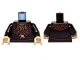 Part No: 973pb1444c01  Name: Torso LotR Ruffled Shirt with Fur Collar and Gold Medallion Pattern (Grima) / Black Arms / Tan Hands