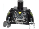 Part No: 973pb1501c01  Name: Torso Robot with Yellow Triangle and Cog Wheels Pattern / Black Evil Mech Arms / Dark Bluish Gray Hands