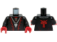 Part No: 973pb1559c01  Name: Torso Castle Dragon Wizard with Lace-up Shirt, Red Trim and Silver Dragon Head Chain Pattern / Black Arms / Red Hands
