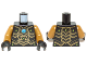 Part No: 973pb1639c01  Name: Torso Chima Black Scaled Armor with Gold Edges, Lime Diamonds and Blue Round Jewel (Chi) Pattern / Pearl Gold Arms / Black Hands