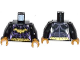 Part No: 973pb1649c01  Name: Torso Batman Female Logo with Body Armor and Gold Belt Pattern / Black Arms / Pearl Gold Hands