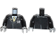 Part No: 973pb1706c01  Name: Torso Agents Suit with Ultra Agents Logo and Gold Tie Pattern / Black Arms / Light Bluish Gray Hands