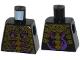 Part No: 973pb1751  Name: Torso Ninjago Skeleton Ribs Gold over Red and Dark Purple Swirls Pattern