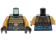 Part No: 973pb1808c01  Name: Torso LotR Gold Armor and Blue Jeweled Belt Pattern / Pearl Gold Arms / Black Hands