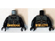 Part No: 973pb1883c01  Name: Torso Batman Logo with Body Armor Gray and Gold Belt Pattern (Comic Con) / Black Arms / Black Hands
