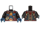 Part No: 973pb1885c01  Name: Torso Dark Blue Muscles, Dark Red Straps and Armor and Fire Chi Emblem Pattern / Black Arms / Dark Blue Hands