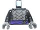 Part No: 973pb1962c01  Name: Torso Armor with Dark Purple Belt with Silver Clasp, Dark Bluish Gray Trim Pattern / Black Arms / Dark Bluish Gray Hands