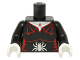 Part No: 973pb2100c01  Name: Torso Female Outline with Red Spider Web Trim, Necklace and Silver Spider Pattern / Black Arms / White Hands