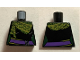 Part No: 973pb2207  Name: Torso Female Outline with Dark Purple Sash and Green and Yellow Scarf Pattern
