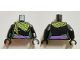 Part No: 973pb2207c01  Name: Torso Female Outline with Dark Purple Sash and Green and Yellow Scarf Pattern / Black Arms / Black Hands