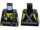 Part No: 973pb2284  Name: Torso Fire Scuba Diver with Utility Belt, Scuba Hose, Regulator, Fire Badge and Crossed Straps on Back Pattern