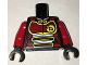 Part No: 973pb2548c01  Name: Torso Ninjago Female Dark Red Samurai Armor with Gold Phoenix Pattern / Red Arms / Black Hands