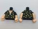 Part No: 973pb2566c01  Name: Torso Batman Open Shirt with Dark Bluish Gray Buttons, Trim and Yellow Bats Pattern / Light Flesh Arms with Black Short Sleeves / Light Flesh Hands
