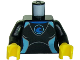 Part No: 973pb2627c01  Name: Torso Female Wetsuit with Blue Logo and Light Blue Lines on Front and Silver Zipper with Cord on Back Pattern / Black Arms / Yellow Hands
